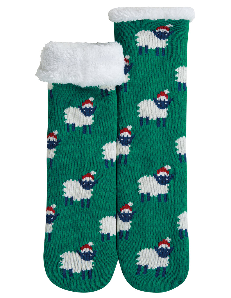 Frugi Cosy Up Socks - Jade/Festive Sheep - Tilly & Jasper