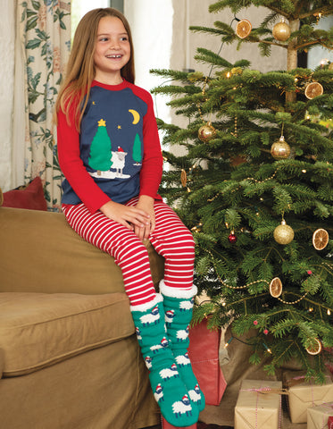 Image of Frugi Cosy Up Socks - Jade/Festive Sheep - Tilly & Jasper