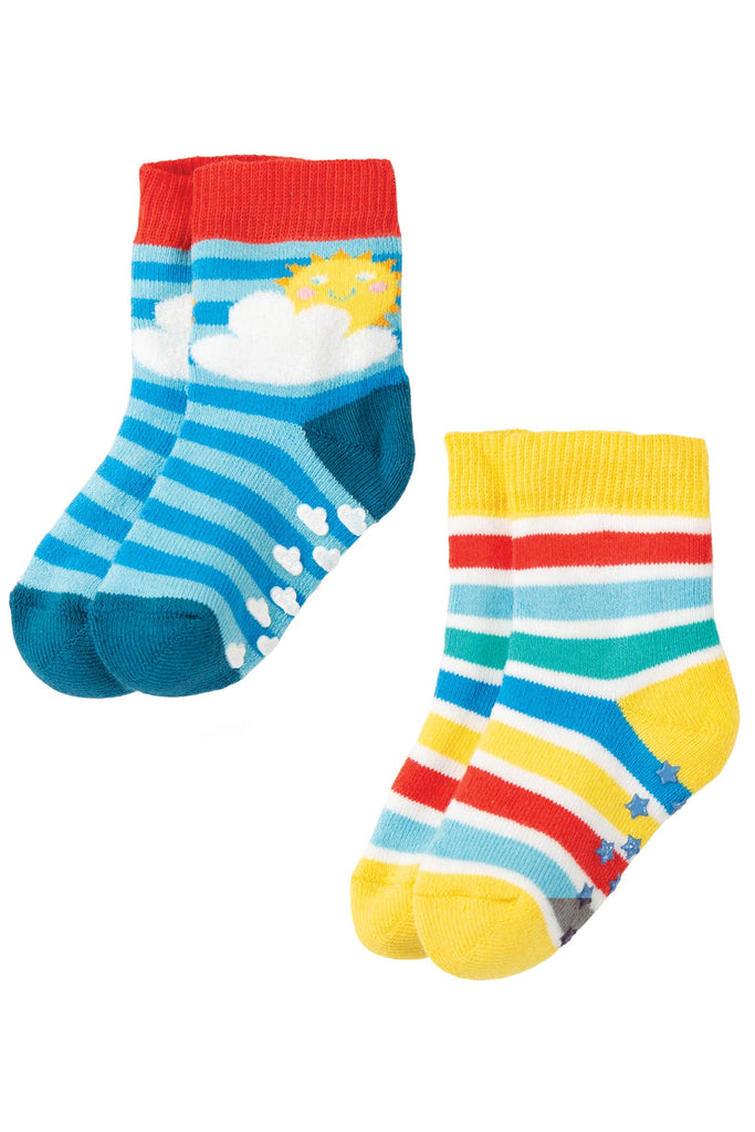 Frugi Grippy Socks 2 Pack -  Rainbow Multipack