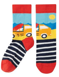 Frugi Perfect Pair Socks - Steely Blue Stripe/Truck
