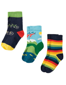 Frugi Rock My Socks 3 Pack - Bike Multipack