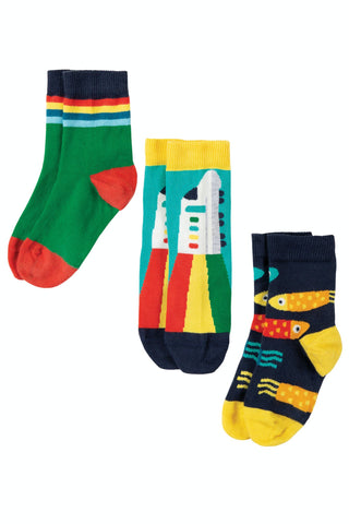 Frugi Rock My Socks 3 Pack - Train Multipack