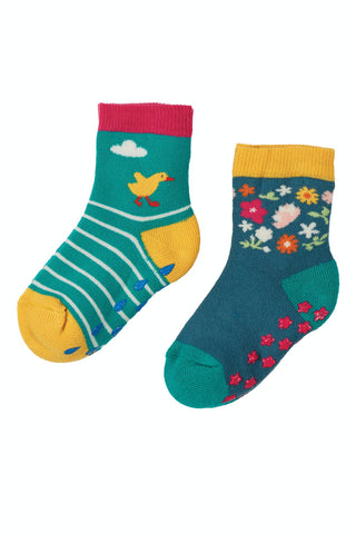 Image of Frugi Grippy Socks 2 Pack - Duck Multipack