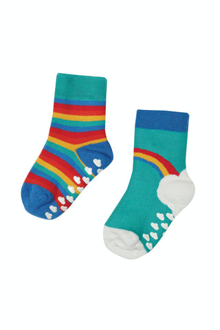 Frugi Grippy Socks 2 Pack - Pacific Aqua Rainbow