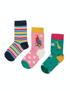 Frugi Rock My Socks 3 Pack - Mid Pink/Parrot