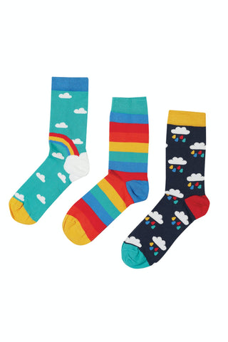 Frugi Rock My Socks 3 Pack - Pacific Aqua Rainbow