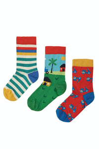 Frugi Rock My Socks 3 Pack - Tractor
