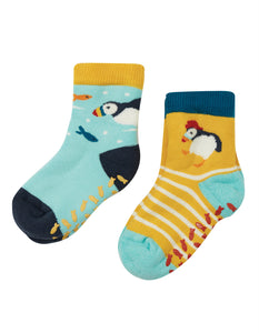 Frugi The National Trust Grippy Socks 2 Pack - Puffin