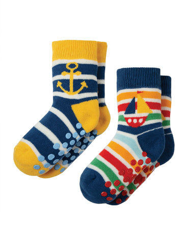 Frugi Grippy Socks 2 Pack - Boat Multipack - Tilly & Jasper