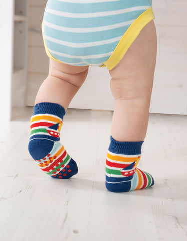 Image of Frugi Grippy Socks 2 Pack - Boat Multipack