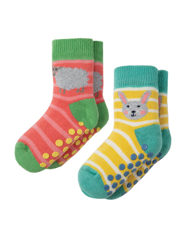 Image of Frugi Grippy Socks 2 Pack - Bunny Multipack - Tilly & Jasper