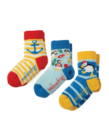 Frugi Little Socks 3 Pack - Puffin Multipack