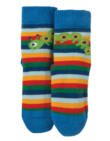 Image of Frugi Perfect Little Pair Socks - Multi Rainbow Stripe/Bug
