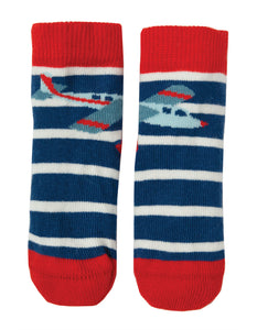 Frugi Perfect Little Pair Socks- Marine Blue Stripe/Plane - Tilly & Jasper