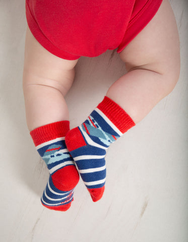 Image of Frugi Perfect Little Pair Socks- Marine Blue Stripe/Plane