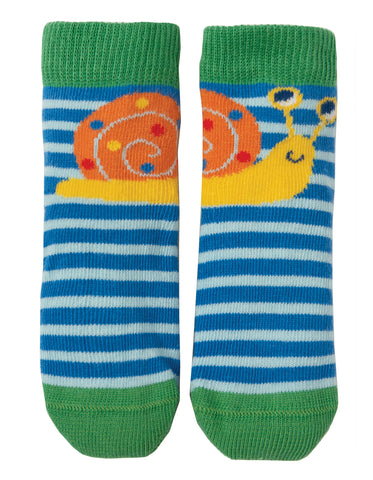 Image of Frugi Perfect Little Pair Socks - Sail Blue Stripe / Snail