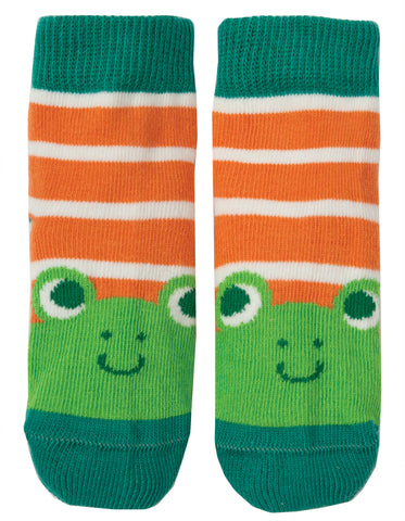 Frugi Perfect Little Pair Socks - Warm Orange Stripe / Frog