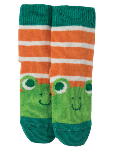 Image of Frugi Perfect Little Pair Socks - Warm Orange Stripe / Frog