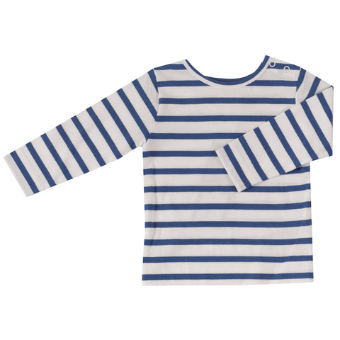Pigeon Organics Long Sleeve T-shirt - Breton Stripe, Delft Blue