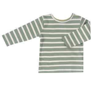 Pigeon Organics Long Sleeve T-shirt - Breton Stripe, Green