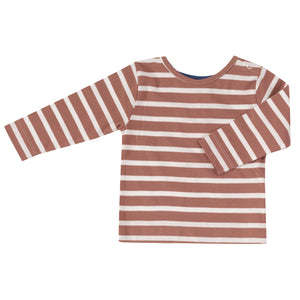 Pigeon Organics Long Sleeve T-shirt - Breton Stripe, Walnut