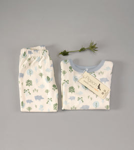 Pigeon Organics Pyjamas in a Bag - Blue Piglets in Forest