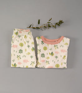 Pigeon Organics Pyjamas in a Bag - Pink Piglets in Forest