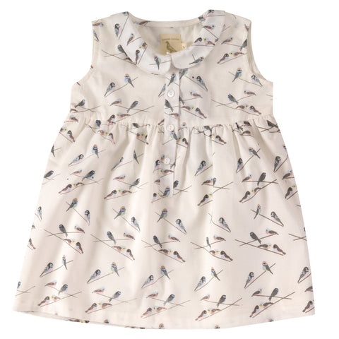 Pigeon Organics Sleeveless Dress with Peter Pan Collar - Birds