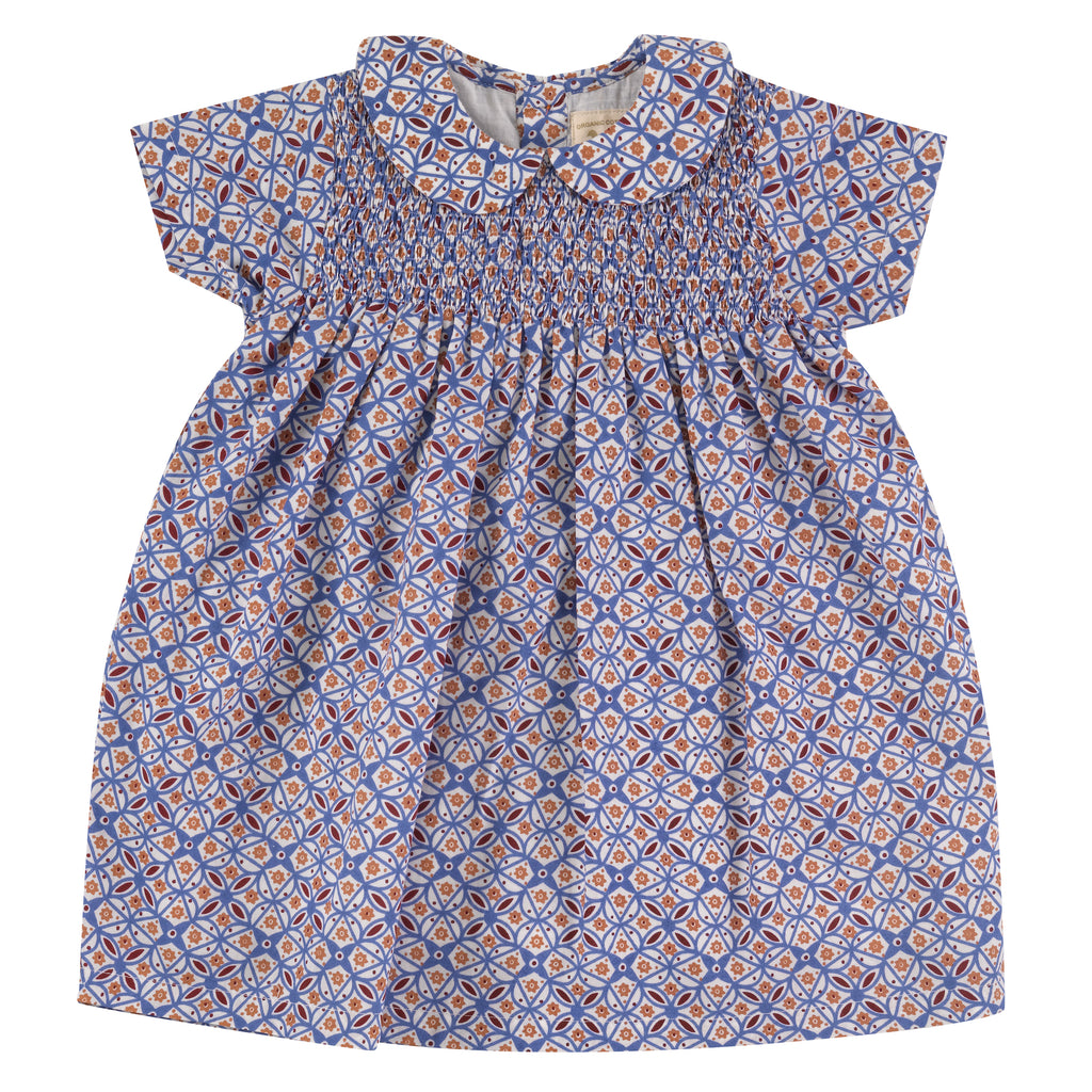 Pigeon Organics Smock Dress w/Peter Pan Collar - Tiles