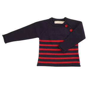 Pigeon Organics Cotton Knit Jumper (Striped) - Navy/Red