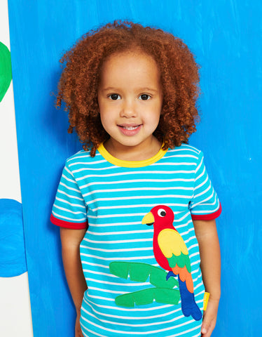 Toby Tiger Parrot Applique SS T-Shirt