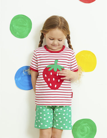 Toby Tiger Strawberry Applique T-Shirt