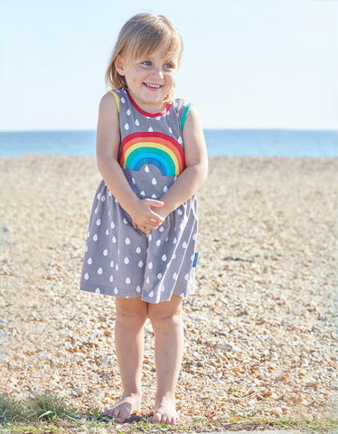 Toby Tiger Raindrop with Rainbow Applique Summer Dress
