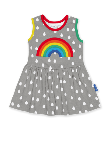 Image of Toby Tiger Raindrop with Rainbow Applique Summer Dress
