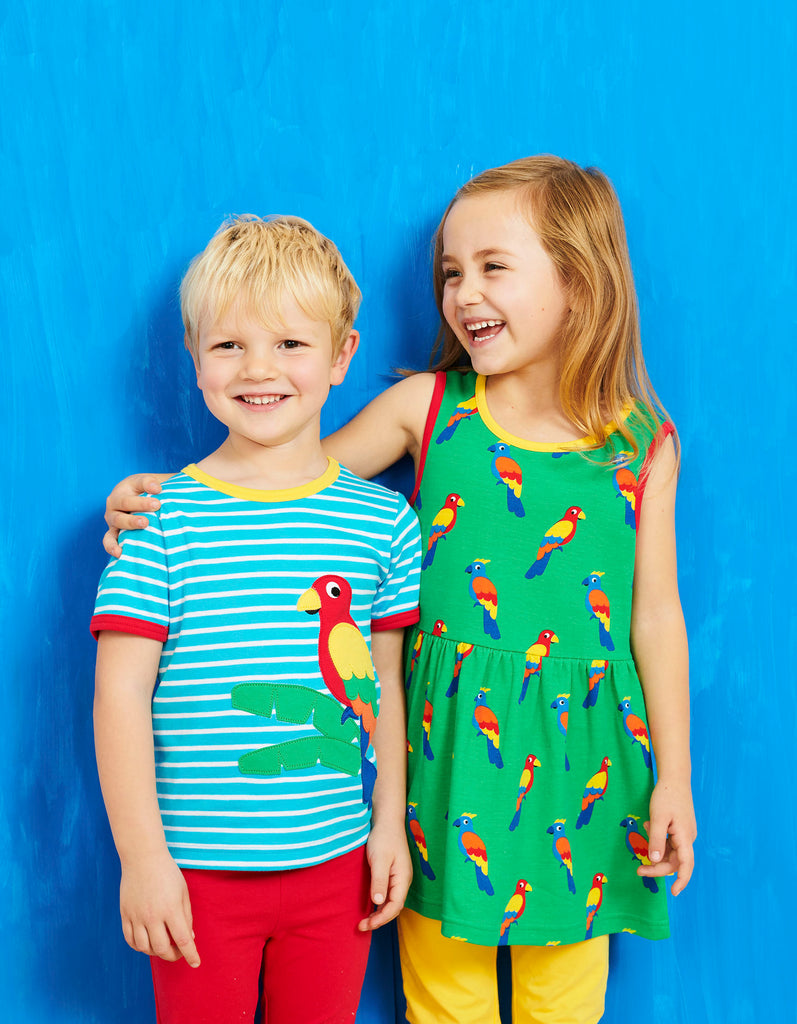 Toby Tiger Parrot Print SS Summer Dress
