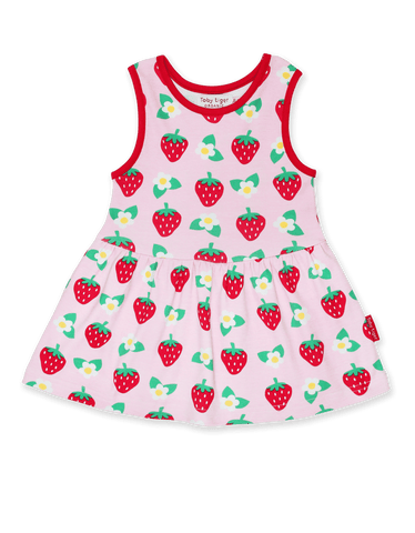 Image of Toby Tiger  Strawberry Print Summer Dress
