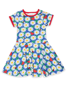 Toby Tiger Blue Daisy Print Skater Dress