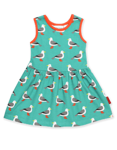 Toby Tiger Teal Seagull Print Summer Dress