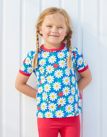 Image of Toby Tiger  Blue Daisy Print T-Shirt