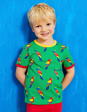 Image of Toby Tiger Parrot Print SS T-Shirt
