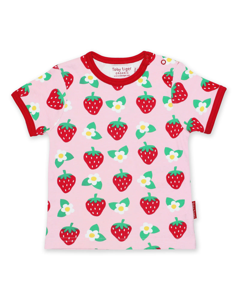 Toby Tiger Strawberry Flower Print SS T-Shirt