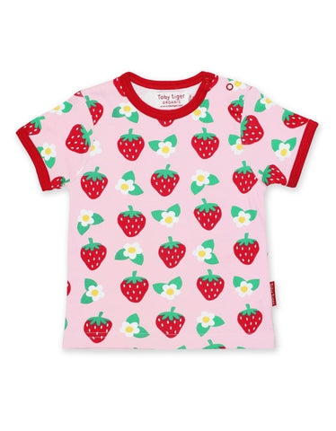 Image of Toby Tiger Strawberry Flower Print SS T-Shirt