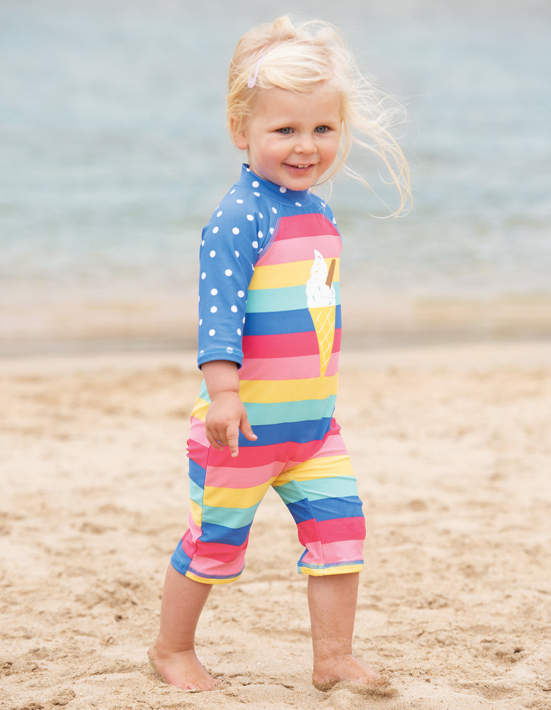 Frugi Little Sun Safe Suit - Bright Rainbow Stripe / Cone - Tilly & Jasper