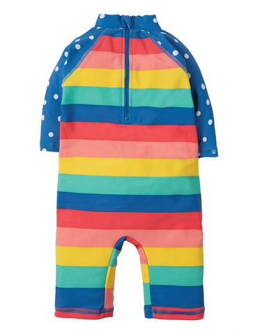 Image of Frugi Little Sun Safe Suit - Bright Rainbow Stripe / Cone