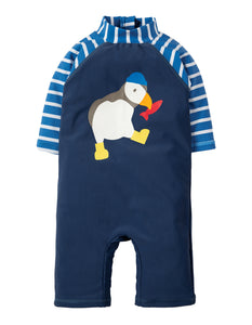 Frugi Little Sun Safe Suit - Marine Blue / Puffin - Tilly & Jasper
