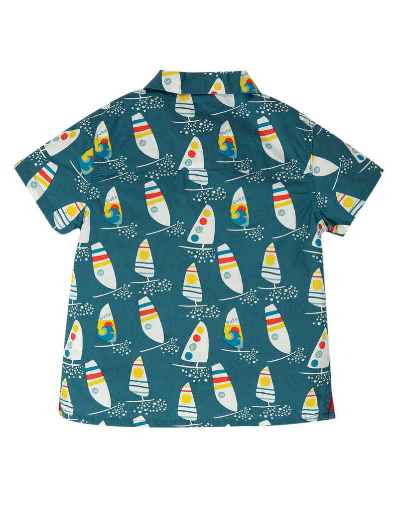 Frugi Harvey Hawaiian Shirt - Steely Blue Ride The Waves