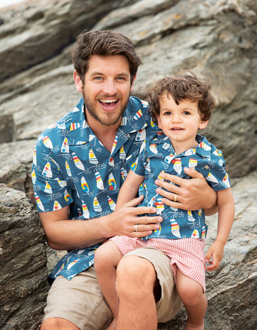 Image of Frugi Grown Ups Hawaiian Shirt - Steely Blue Ride The Waves