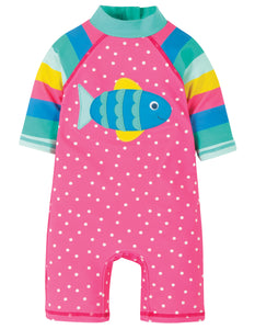Frugi Little Sun Safe Suit - Flamingo Spot/Fish