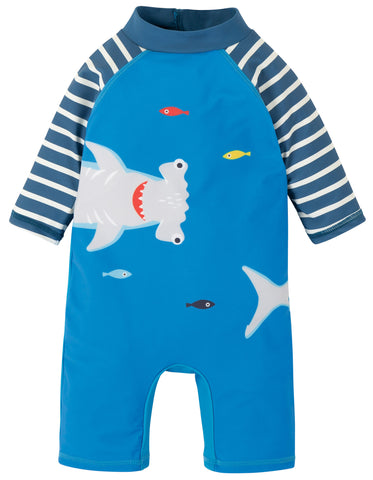 Image of Frugi Little Sun Safe Suit - Motosu Blue/Shark