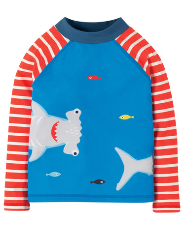 Image of Frugi Sun Safe Rash Vest - Motosu Blue/Shark